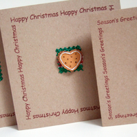 Set of 5'Gingerbread' Christmas Cards,Handmade Xmas Cards,Pack of Five