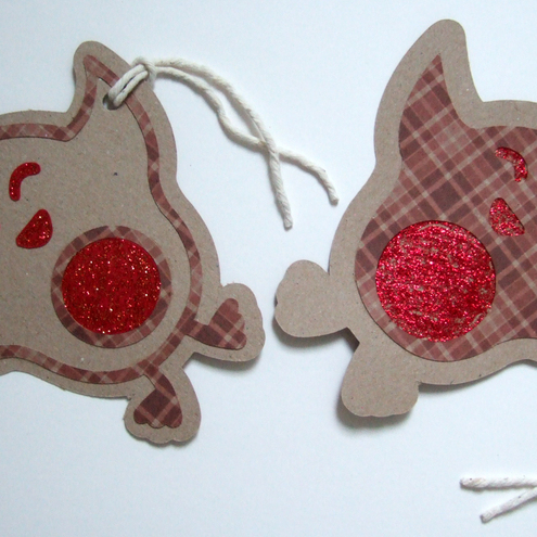 Christmas Gift Tags,'Rocky Robin'Set of 2 Large Gift Tags Handmade