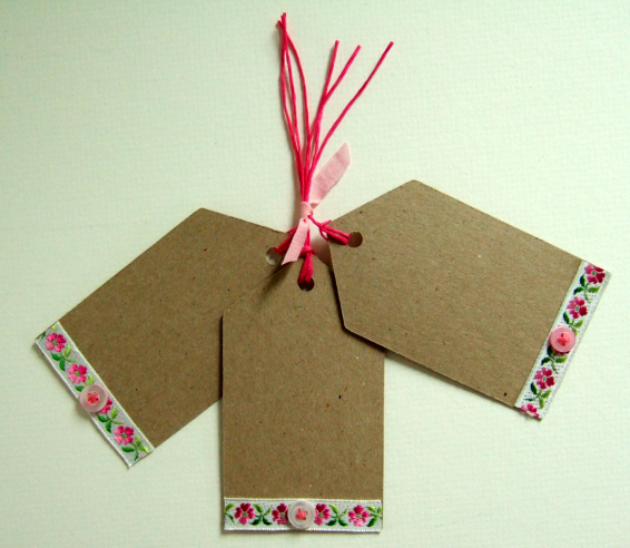 Vintage Ribbon Gift Tags,Pack of Three, Handmade Gift Tags