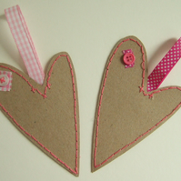 Heart Hand Stitched Gift Tags,Pack of Two,Handmade Gift Tags