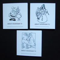 'Lets Colour In' Christmas Cards 5pk, Personalised Children's Xmas Cards