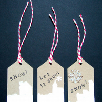 Christmas Gift Tags,'Snow Scenes' 3 pack, Xmas Handmade Tags
