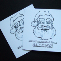 Christmas Cards,'Lets Colour In' Kids Personalised Christmas Cards 5pk
