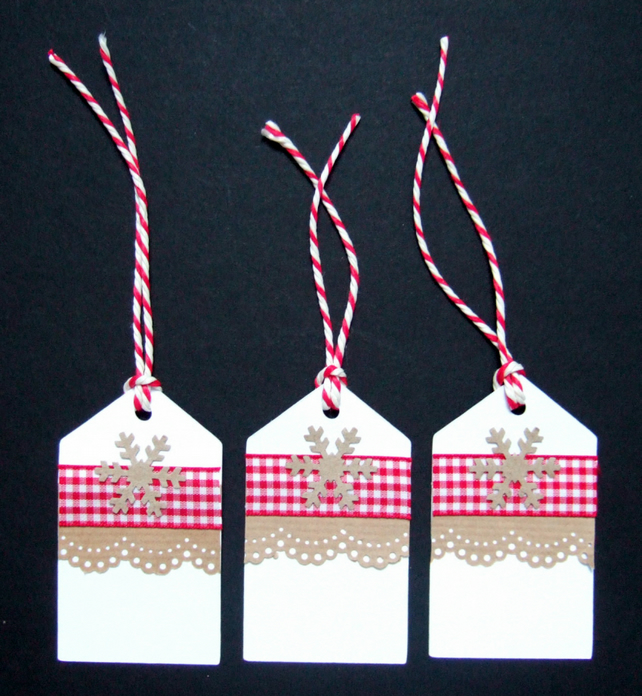 Christmas Gingham Gift Tags 3pk, Xmas Handmade Tags,Message Tags,
