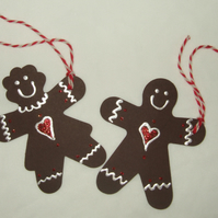Christmas Gift Tags,Gingerbread Man & Women,Handmade Gift Tags,2pk
