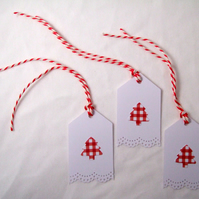 Christmas Tree Gift Tags 3pk, Handmade Xmas Message Tags