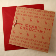 Christmas Stitches,Cross Stitch Design Printed Cards 5pk, Hand Made Cards