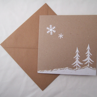 Christmas Cards 'Snow Trees' 5pk,Handmade Xmas Cards