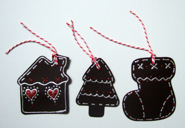 Christmas Gift Tags,Gingerbread Style Gift Tags 3pk,Handmade Tags