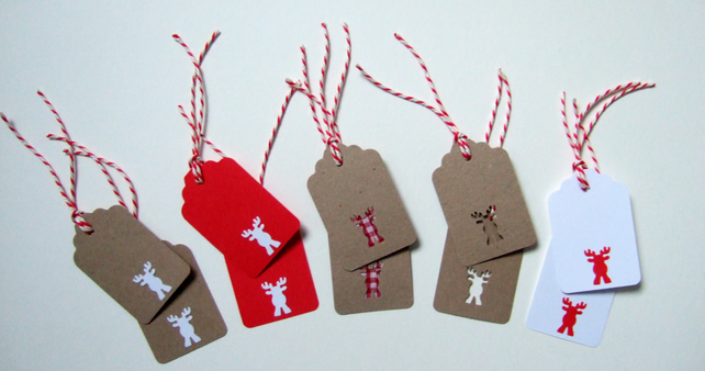Christmas Rudolph Gift Tags 10pk, Handmade Xmas Message Tags