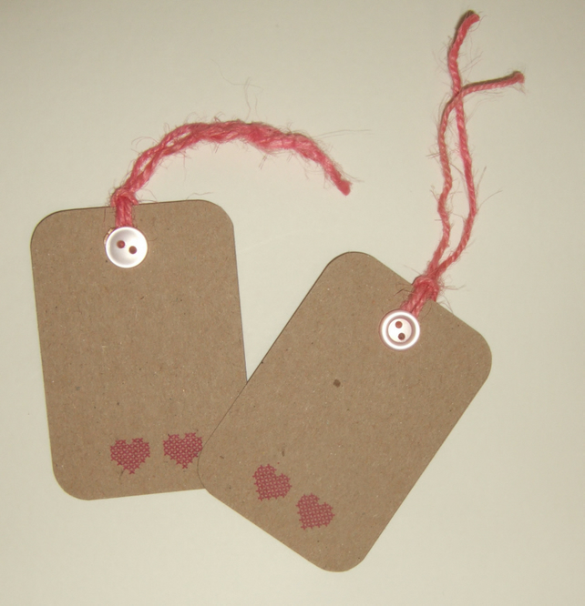 Anniversary Gift Tags Set of Two, Printed Cross Stitch Heart Design