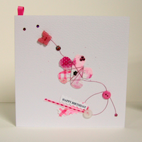 Greeting Card, 'Pink Flower Buttons & Bows', can be personalised