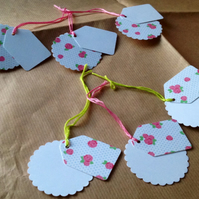 Layered Gift Tags,Floral Pattern,Set of Six