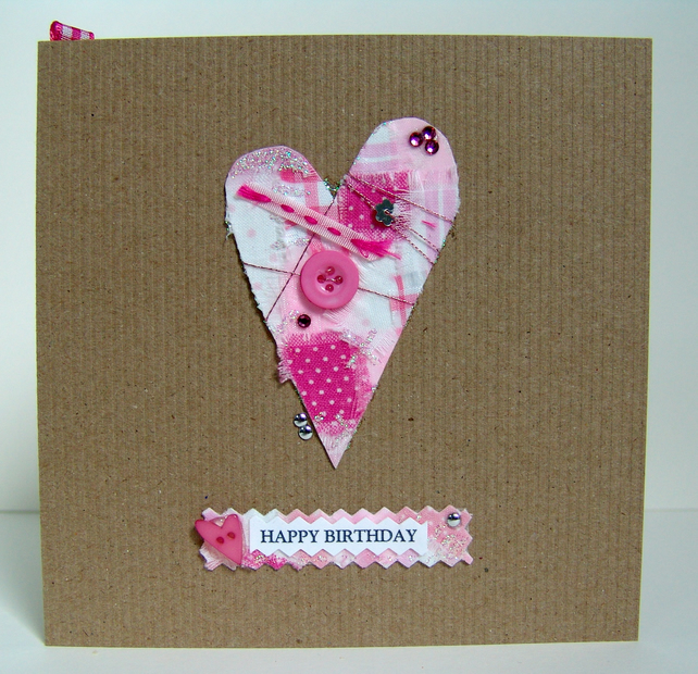 Greeting Card, 'Big Heart Buttons & Bows' can be personalised