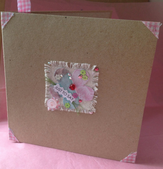 Greeting Card, 'Pretty Patch Just to Say', Handmade Card