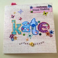Personalised Birthday Card, Printed Applique Design, Hand Finished Card.