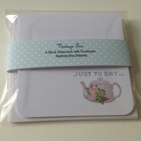 Notecards, Set of Four Blank 'Vintage Tea', Handmade Notecards with Envelopes