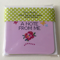 Set of Four Notecards, 'Sweet Stitches' Blank Notecards with Envelopes