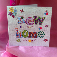 New Home Greeting Card, Printed Applique Design, Handfinished Card