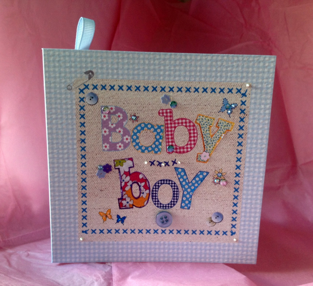 New Baby Boy,Greeting Card, Printed Applique Design,Handfinished Card