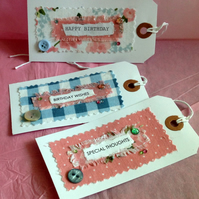 Gift Tags, Shabby Chic Style Three Pack, Handmade Message Tags