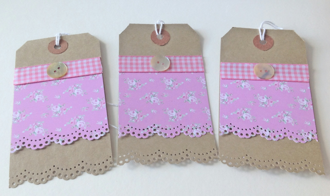 Gift Tags Handmade,Gingham Shabby Chic Message Tags 3pk