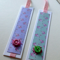 Bookmarks Set of Two,Shabby Chic Style,Handmade Bookmarks