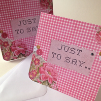 Set of Four Notecards,'Gingham & Flowers'Blank Notecards&Envelopes,Hand Finished
