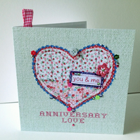 Anniversary Greeting Card,Printed Applique Heart Design,Hand Finished Card