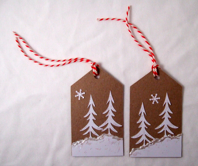 Christmas Gift Tags,'Snow Trees' 3pk, Xmas Handmade Message Tags