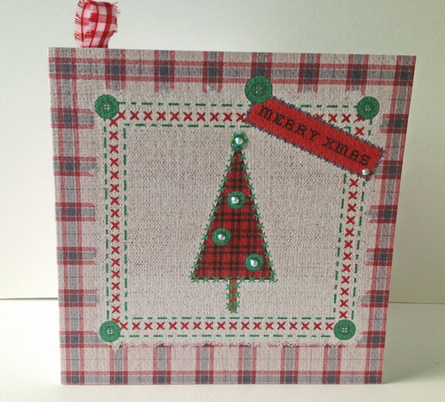 Christmas Card Pack,'Seasonal Stitches' Hand Finished Xmas Cards 5pk