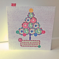 Christmas Cards Pk of 5,'Buttons&Baubles' Hand Finished Xmas Cards