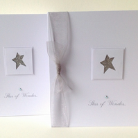 Christmas Card Pk of 5,'Star of Wonder',Handmade Xmas Card Pack