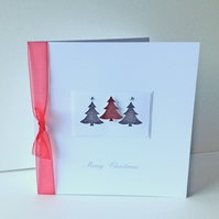 Christmas Card Pk of 5,'Glitter Trees',Handmade Xmas Cards, Can Be Personalised