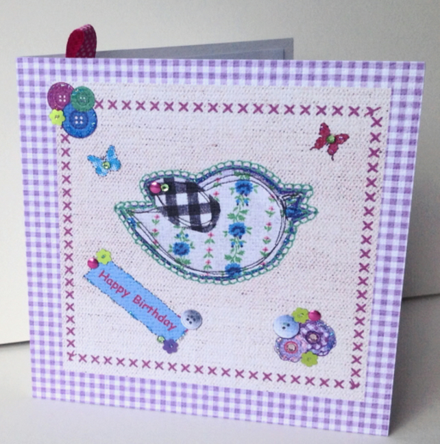 Birthday Card,Printed Applique Design,Hand Finished Greeting Card