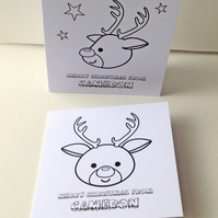 Christmas Cards,Lets Colour In' Kids Personalised Xmas Cards 5pk,Handmade Cards