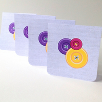Set of Four Notecards,'Buttons Bright'Blank Notecards with Envelopes