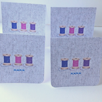 Set of Four Notecards,'Bobbins Bright,Blank Notecards with Envelopes
