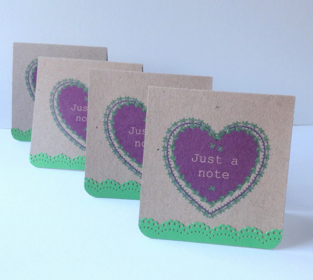 Set of Four Notecards,'Just a Note'Blank Notecards with Envelopes
