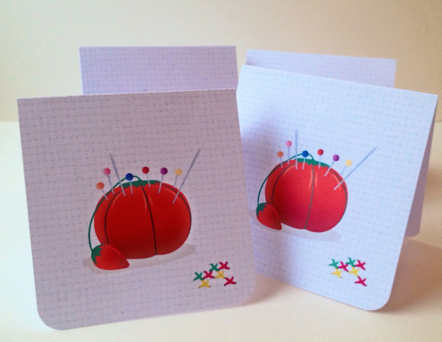 Set of Four Notecards,'Pretty Pins'Blank Notecards with Envelopes