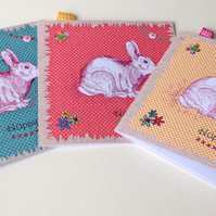 Easter Cards,Pk of 3 Printed Bunny Design,HandFinished Card.