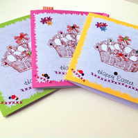 Easter Cards,Pk of 3 Easter Eggs in Basket Design,Hand Finished Card