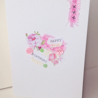Collage Design Open Greeting Card,Can Be Personalised,Handmade Birthday Card