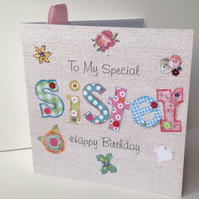 Birthday Card Sister,Printed Applique Design,Handfinished Greeting Card
