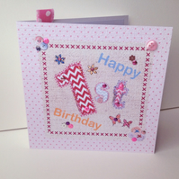 Birthday Card Age 1-10, In Pink Shades,Printed Greeting Card,Can Be Personalised