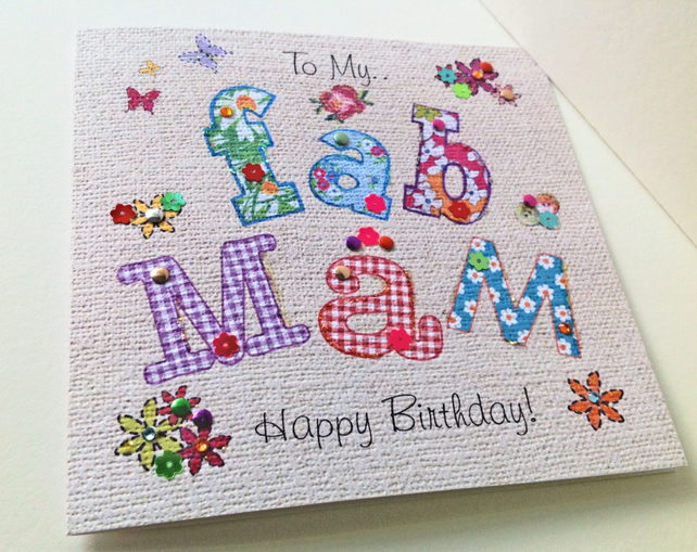 Birthday Card Mam,Printed Applique Design,Hand Finished Greeting Card