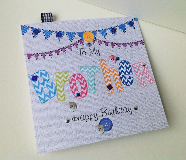 Birthday Card Brotherprinted Applique Designh Folksy