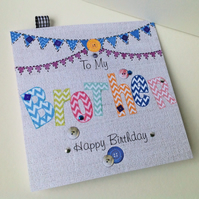 Birthday Card Brother,Printed Applique Design,Handfinished Greeting Card