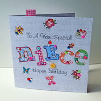 Birthday Card Niece,Printed Applique Design,Handfinished Greeting Card