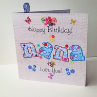 Birthday Card Nana,Printed Applique Design,Handfinished Greeting Card